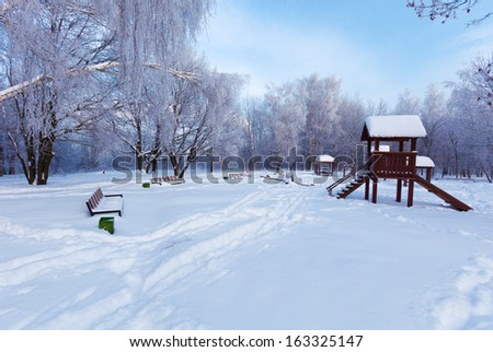 Winter Park in Moscow with Snowy Trees