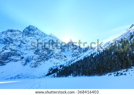 Winter rocky mountain view with sunlight from behind the rocks and fir forest on slope.
