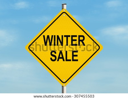 Winter sale. Road sign on the sky background. Raster illustration.