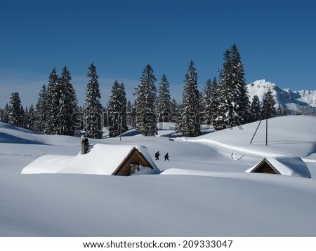 Winter scene, huts and trees, snow