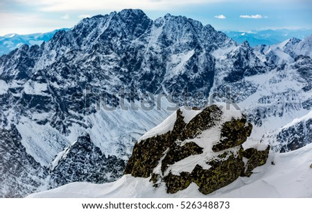 Winter scene in Tatra mountains