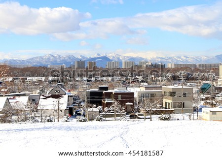 Winter scene of the Sapporo suburbs