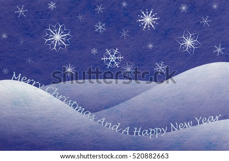 Winter scene with snowy mountains and snowflakes and the words Merry Christmas And A Happy New Year, christmas card
