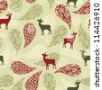 winter seamless pattern with christmas decoration, deers, and snowflakes - stock photo