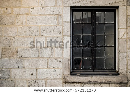 Window showing pottery stone wall stock photo 558472384 for Exterior glass wall texture