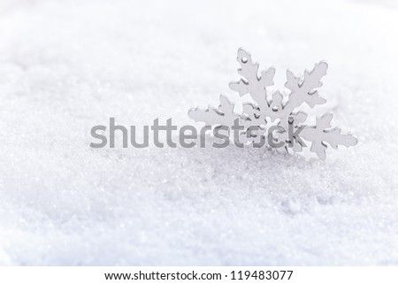 Winter snow background with artificial snowflakes