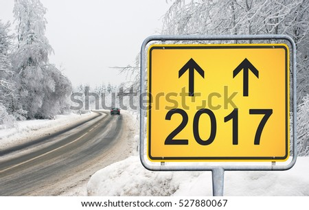Winter Street 2017 - yellow traffic sign - the road to next year