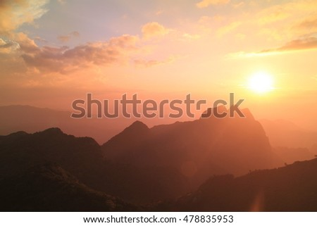 winter sunset at Doi Luang Chiang Dao Mountain,Chiang Mai province,Thailand