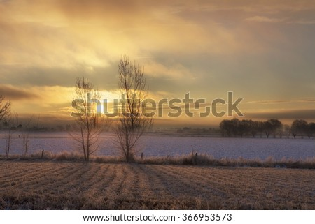 Winter sunset over farm land with trees in Idaho