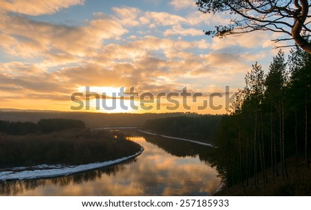 Winter sunset over the river