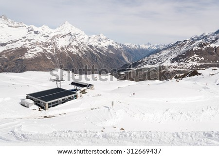 Winter view at the ski station in high Alps Switzerland