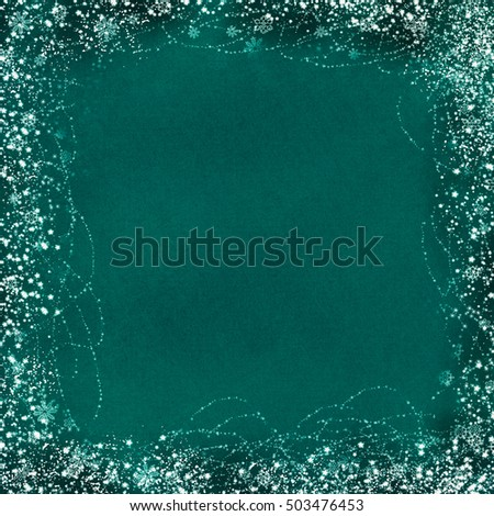 winter watercolor border - blue and cyan stained pattern