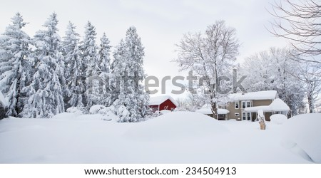 Winter wonderland. Snow covered Western New York landscape. With an old farm house and red barn draped in snow, this image is perfect as a Christmas / Holiday background.