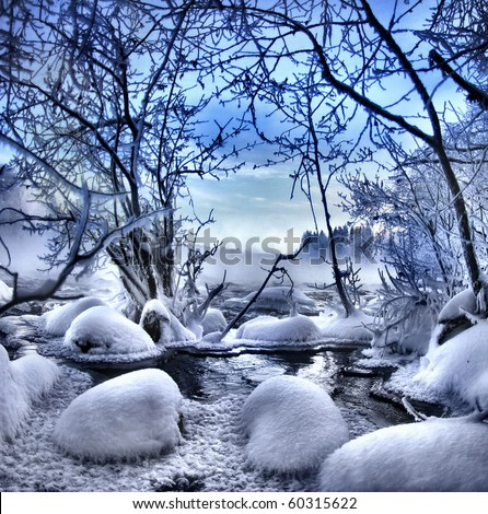 Winter Night Scenery Mountain River Stock Photo 83928070