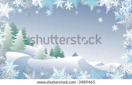 Winterscape framed by snowflake border (also in available in vector)
