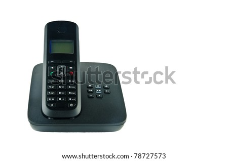 Wireless black telephone with cradle isolated on white background