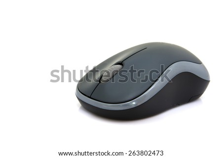 Wireless computer mouse isolated on white background.