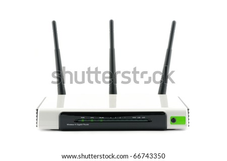 Wireless gigabit broadband router in isolated white background