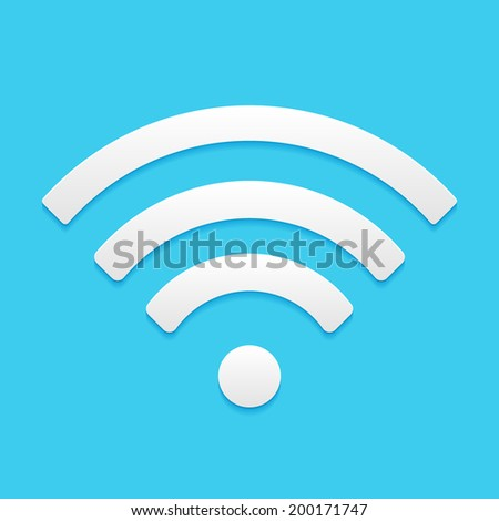 Wireless Network Symbol, flat icon isolated on a blue background for your design