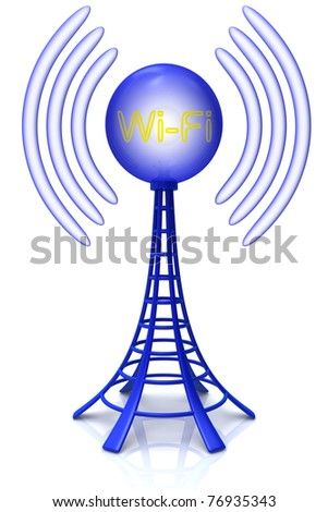 Wireless tower with radio waves isolated on white background.