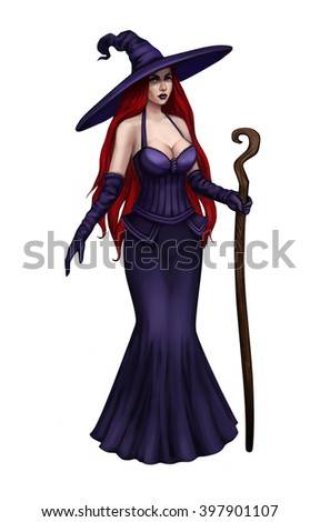 Witch in a violet dress