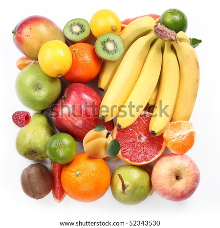 With fruit in the form of a square. Isolated on white background