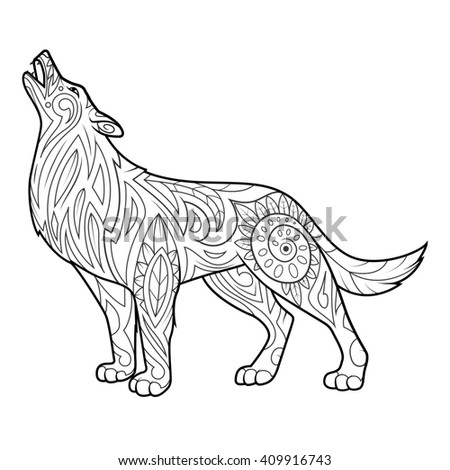 Wolf coloring book for adults raster illustration. Anti-stress coloring for adult. Zentangle style. Black and white lines. Lace pattern
