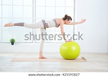 Woman Working Out Exercise Ball Gym Stock Photo 425454427