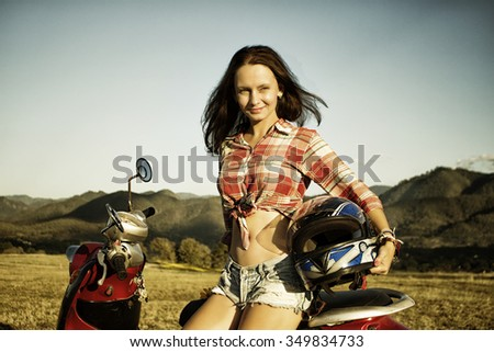 Woman and motorbike, Pai, Thailand