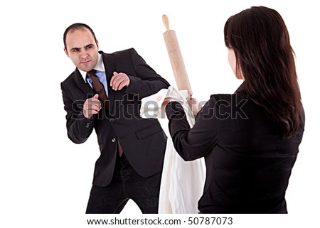 woman arguing with her husband, pointing to the rolling pin and a shirt with lipstick mark, isolated on white background