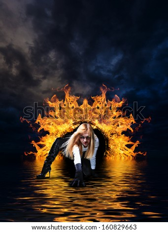 Woman at hell\u0027s door dramatic background & Woman Hells Door Dramatic Background Stock Photo 160998404 ... Pezcame.Com