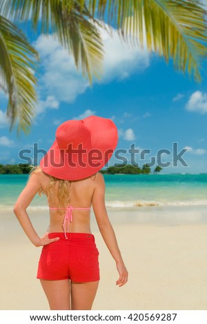 Woman at the tropical beach resort