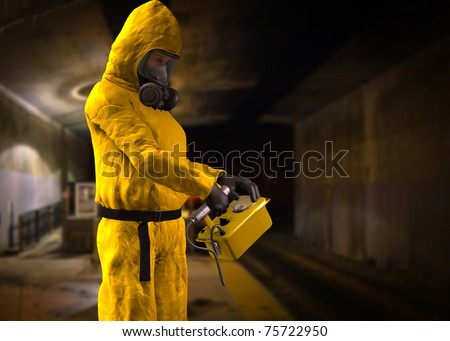 Woman at work in yellow hazardous material protective hazmat suit gas mask rubber gloves and rubber boots checking out a underground train tunnel with geiger counter. Original illustration