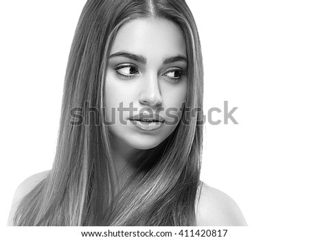 Woman beauty face portrait isolated on white with healthy skin black and white
