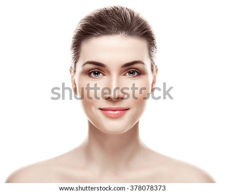 Woman beauty portrait isolated on white skin care concept