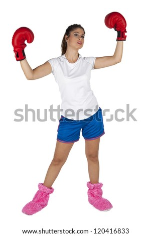 Woman boxer celebrating her success