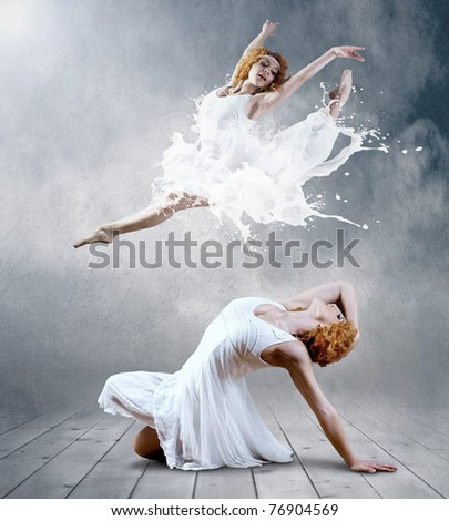 Woman dancer seating posing on background