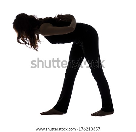 Woman doing Intense Side Stretch Pose in Yoga (Series with the same modelavailable)