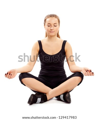 Woman doing yoga on a white background