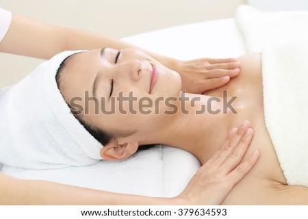 Spa Treatments Facial Massage Beautiful Girl Stock Photo ...