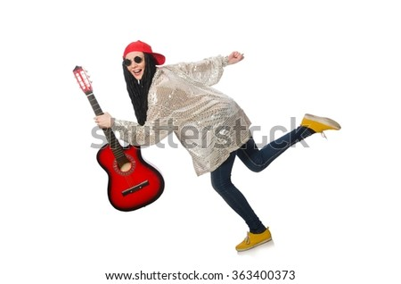 Woman guitar player isolated on white