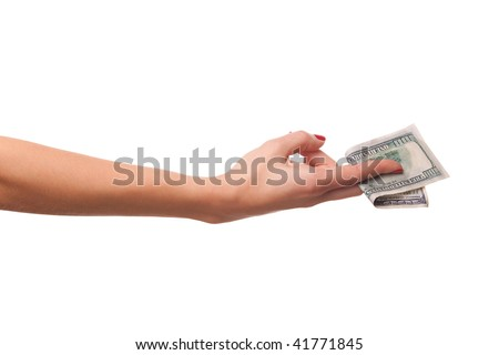 Woman hand and dollars