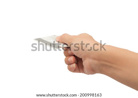 Woman hand hold credit card action on white background.