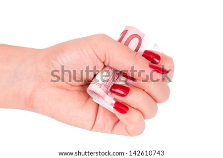 woman hand holding money euro banknotes