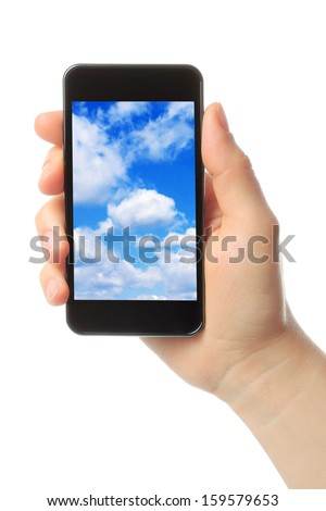 Woman hand holds smart phone with sky on white background, cloud computing concept
