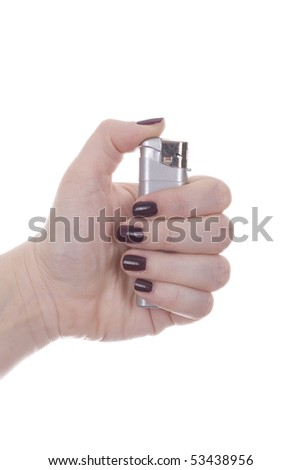 Woman hand is holding a lighter