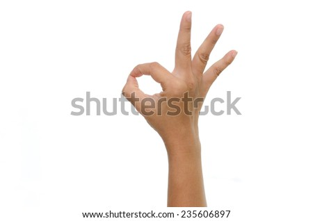 woman hand showing ok sign on white background isolated