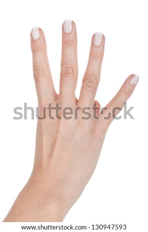 Woman hand shows four finger, closeup on white background