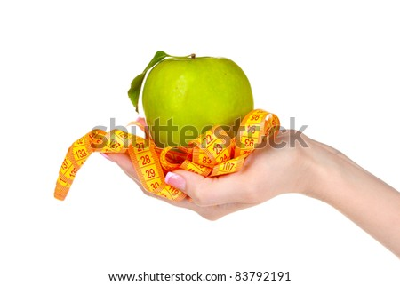 Woman hand with apple and measuring tape on it isolated on white