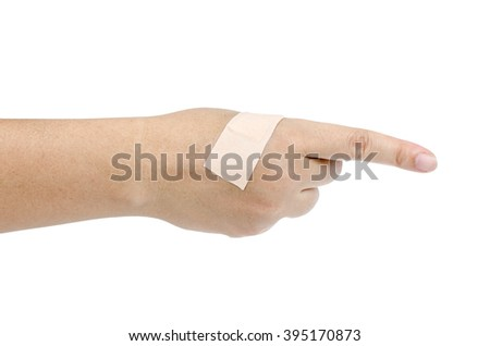 Woman hand with bandage isolate on white background with clipping path